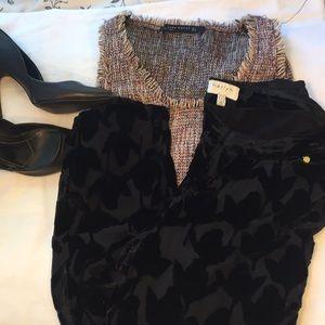 Harlyn brand black Slouchy velvet dress pants